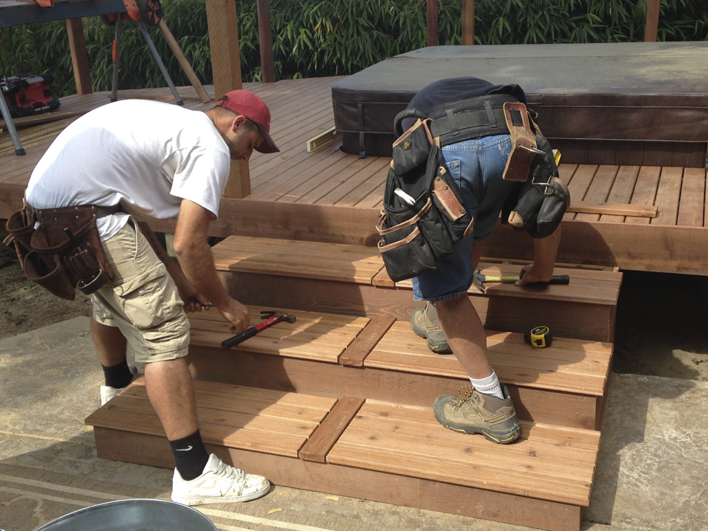 custom wood deck stairs