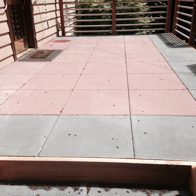 two-toned tile patio